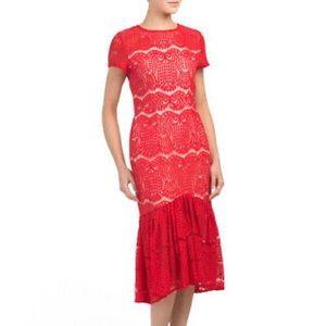 Vone Anthropologie Red Midi Drop Waist Lace Dress